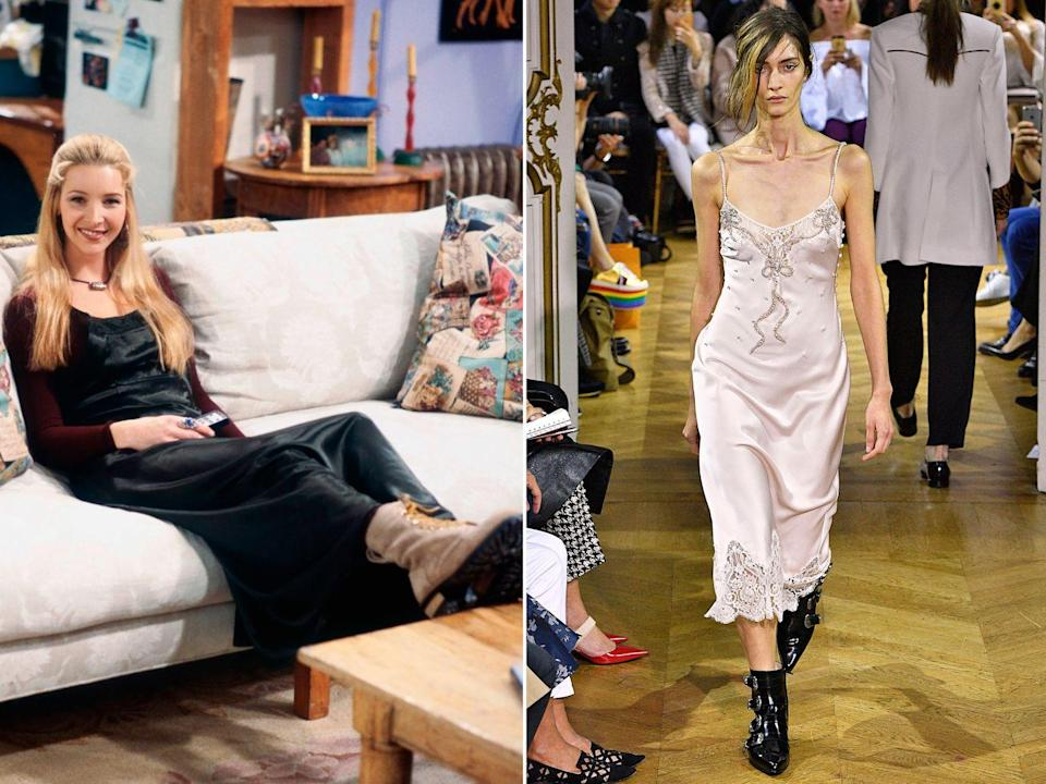 <p><strong>The moment:</strong> Season 1, episode 16</p><p>Unsurprisingly, the slip dress makes more than a few stylish appearances over the decade in Friends, but Phoebe's very cool styling of the piece back in season one has to be the strongest. Teamed with chunky, lace-up biker boots, she gave the look a grungy feel that feels simultaneously retro and modern. </p>