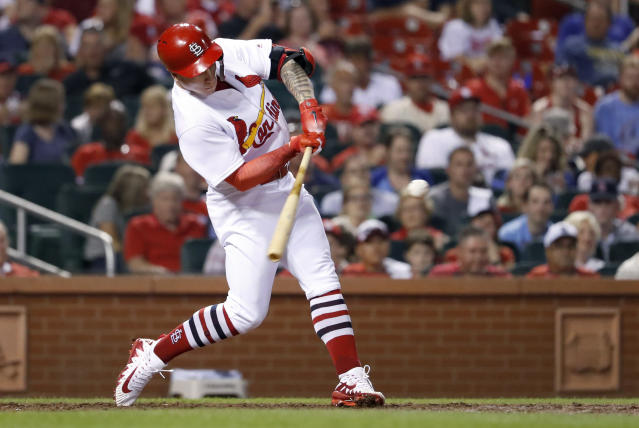 "Tyler O'Neill has added a jolt of adrenaline to the slumping <a class=""link rapid-noclick-resp"" href=""/mlb/teams/stl"" data-ylk=""slk:Cardinals"">Cardinals</a> offense (AP Photo/Jeff Roberson)"