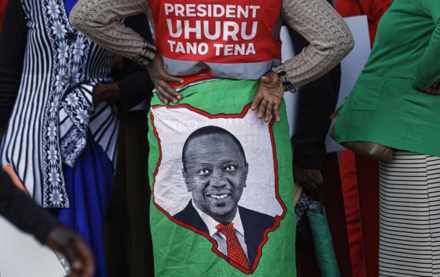 "<p>A supporter wears a cloth wrap showing Kenya's President Uhuru Kenyatta, with writing in Swahili reading ""President Uhuru, Five More"" referring to the wish for another 5-year term, at an election rally in Uhuru Park in Nairobi, Kenya, Friday, Aug. 4, 2017. (Photo: Ben Curtis/AP) </p>"
