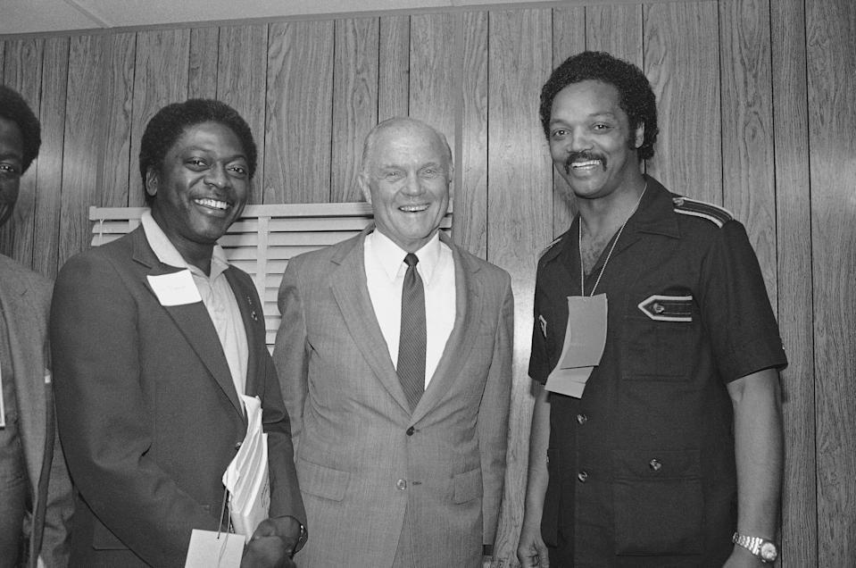 Rep. Jim Clyburn, left, meets in 1982 with John Glenn, center, and Jesse Jackson, both of whom would seek the Democratic Party's presidential nomination two years later.
