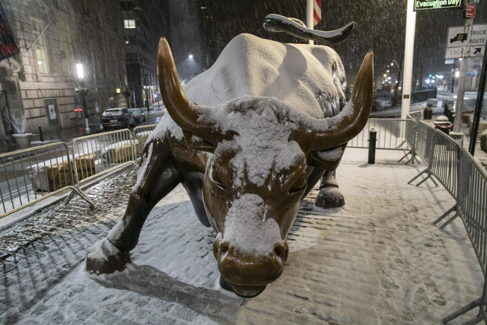 "NEW YORK, NEW YORK - JANUARY 31: The bull of Wall Street is seen during the pass of the snowstorm on January 31, 2021 in New York City. New York City Mayor Bill de Blasio declared a state of emergency order due to the arriving storm that""u2019s expected to wallop New York, where airports are expected to cancel the majority if their flights. (Photo by Eduardo MunozAlvarez/VIEWpress)"
