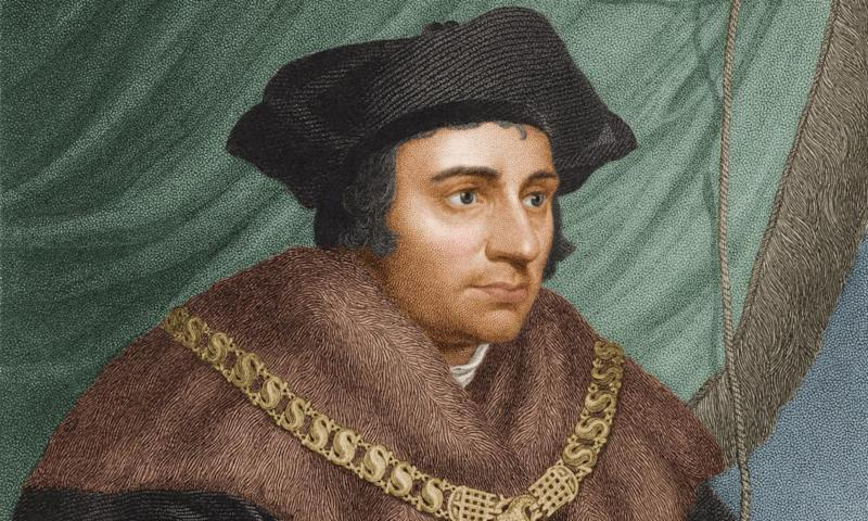 Portrait of Thomas More wearing a fur-trimmed cloak, from a painting by Hans Holbein the Younger, 1527