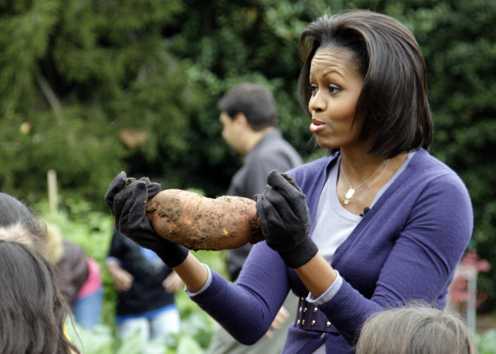 Going to the county fair with that? The first lady has made healthy eating for her family and the country her mission. And her green thumb at the White House garden has paid off, as evidenced by this oversized, straight-from-the-ground, sweet potato. (Alex Brandon/AP Photo)
