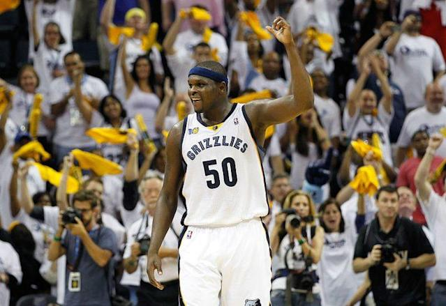 "<a class=""link rapid-noclick-resp"" href=""/nba/players/3531/"" data-ylk=""slk:Zach Randolph"">Zach Randolph</a> will one day see his No. 50 raised to the rafters at FedExForum in Memphis. (Getty)"