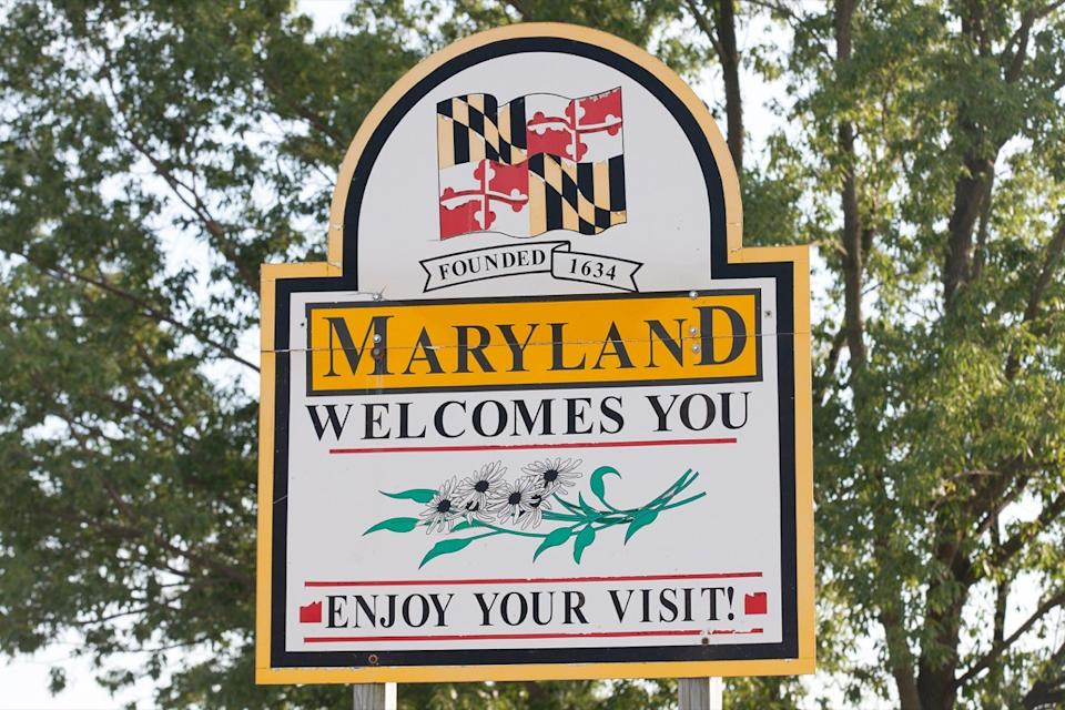 maryland state welcome sign