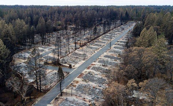PHOTO: In this file photo taken on Dec. 3, 2018, homes leveled by the Camp Fire line the Ridgewood Mobile Home Park retirement community in Paradise, California. (AP Photo/Noah Berger)