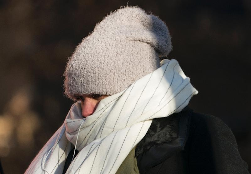 A woman in New York is seen bundled against the cold as a bitter Arctic chill settled across much of the United States and Canada