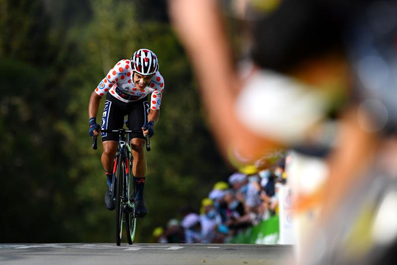 LA PLANCHE FRANCE SEPTEMBER 19 Richard Carapaz of Ecuador and Team INEOS Grenadiers Polka Dot Mountain Jersey during the 107th Tour de France 2020 Stage 20 a 362km Individual Time Trial stage from Lure to La Planche Des Belles Filles 1035m ITT TDF2020 LeTour on September 19 2020 in La Planche France Photo by Stuart FranklinGetty Images