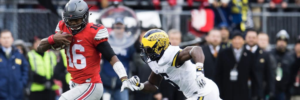 "<img width=""640"" height=""213"" alt=""Nov 26, 2016; Columbus, OH, USA; Ohio State Buckeyes quarterback J.T. Barrett (16) sprints upfield as Michigan Wolverines linebacker Jabrill Peppers (5) pursues during the third quarter at Ohio Stadium. Ohio State won the game 30-27 in double overtime. Mandatory Credit: Greg Bartram-USA TODAY Sports""/><p>The Falcons should take the best available player, and avoid pigeonholing players into positions of need. </p> <p>The post <a rel=""nofollow"" rel=""nofollow"" href=""https://ec.yimg.com/ec?url=http%3a%2f%2fcover32.com%2f2017%2f04%2f25%2fthree-players-falcons-avoid-31st-pick%2f%26quot%3b%26gt%3bThree&t=1493208090&sig=gytE_T0iKm0n4ugXIh.s5Q--~C Players the Falcons Should Avoid with the Thirty-First Pick</a> appeared first on <a rel=""nofollow"" rel=""nofollow"" href=""http://cover32.com"">Cover32</a>.</p>"