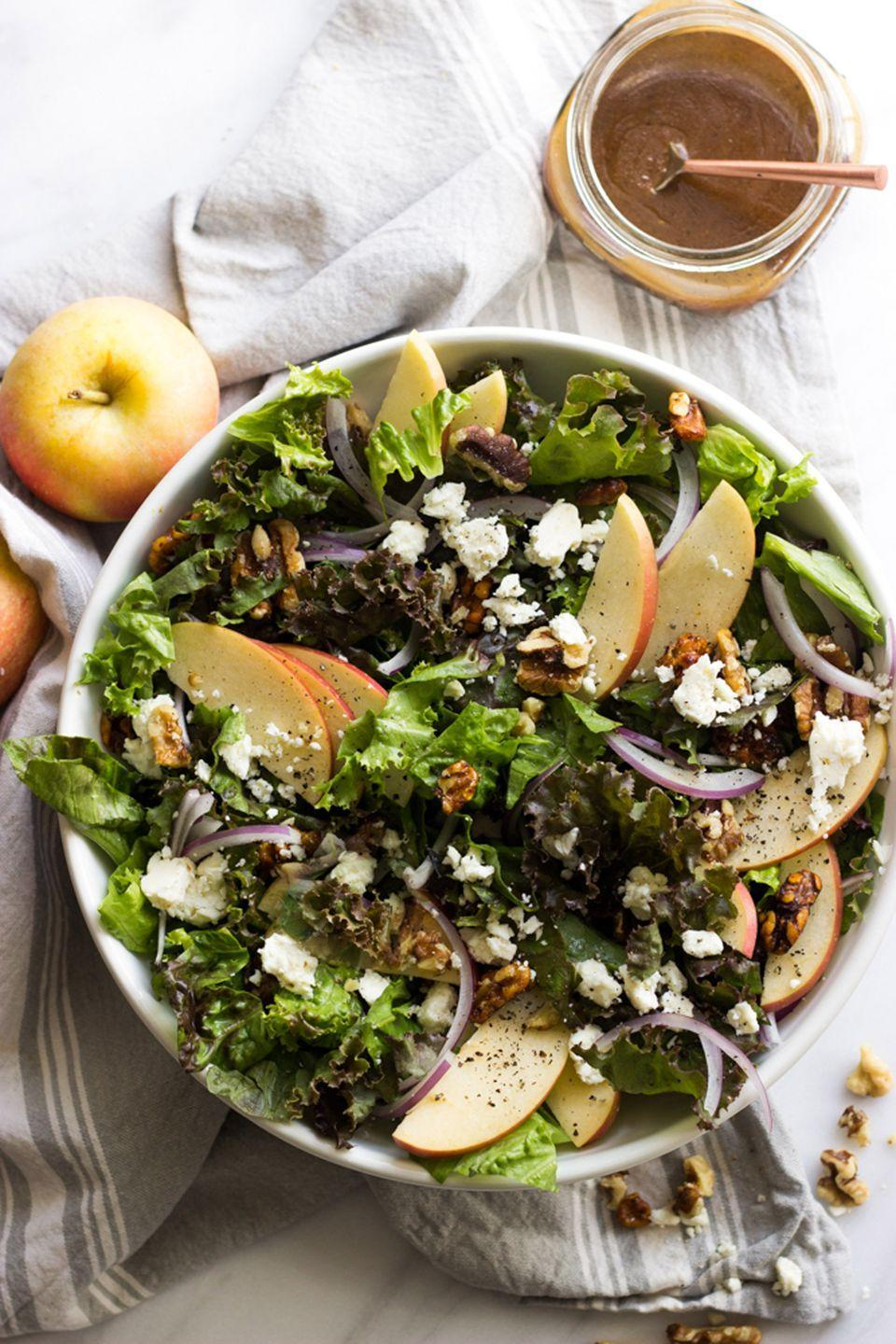 "<p>This light salad—drizzled with a homemade dressing—is versatile enough to be served aside any fall dinner dish.</p><p><strong>Get the tutorial at <a href=""http://www.littlebroken.com/2016/10/04/apple-walnut-salad-with-balsamic-vinaigrette/"" rel=""nofollow noopener"" target=""_blank"" data-ylk=""slk:Little Broken"" class=""link rapid-noclick-resp"">Little Broken</a>.</strong></p>"