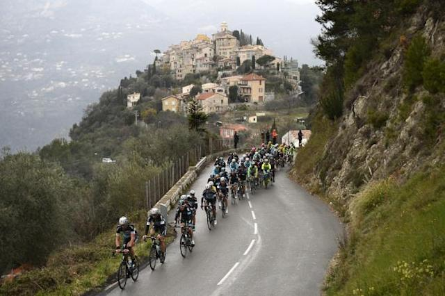 The pack rides during the sixth stage of the 73rd edition of the Paris-Nice cycling race, between Vence and Nice.