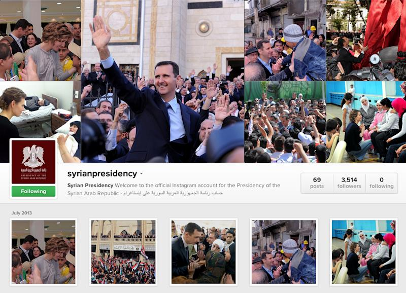 This screen capture made on Wednesday, July 31, 2013 shows the Instagram account of Syrian President Bashar Assad. Amid the carnage from the Syrian civil war, President Bashar Assad has embraced every tool at his disposal including social media to project confidence and transmit his message to dedicated fans, most recently on the popular photo-sharing service Instagram posting pictures of himself and his glamorous wife surrounded by idolizing crowds.(AP Photo/Syrian Presidency via Instagram)