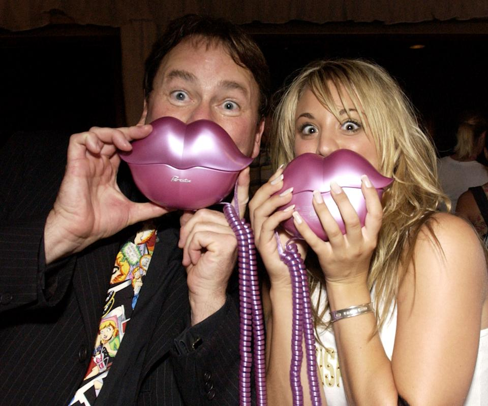 """John Ritter & Kaley Cuoco visit MGA Entertainment's """"Bratz"""" (Photo by Chris Weeks/WireImage for Backstage Creations)"""