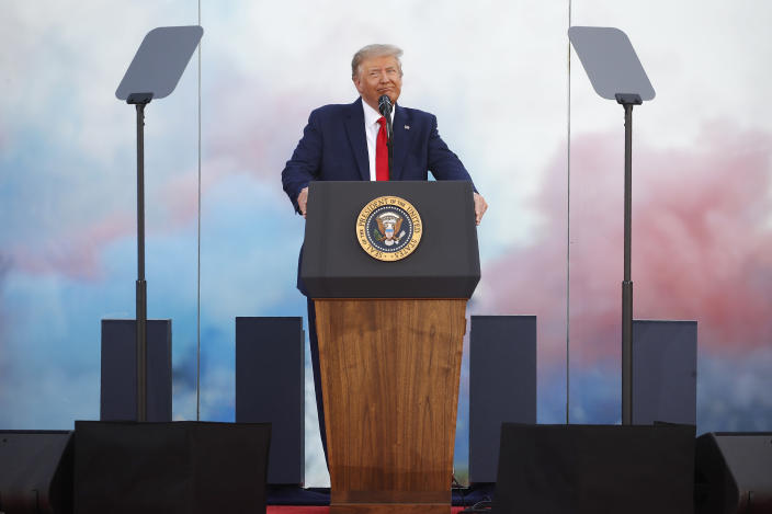 """President Donald Trump speaks during a """"Salute to America"""" event on the South Lawn of the White House, Saturday, July 4, 2020, in Washington. (AP Photo/Patrick Semansky)"""