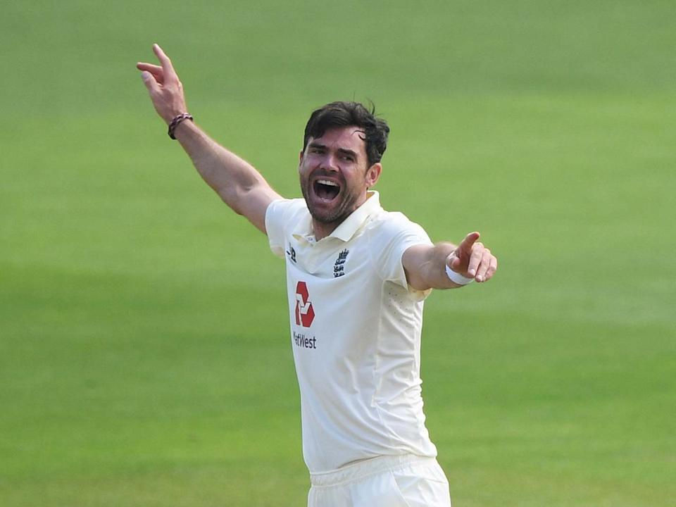 James Anderson celebrates taking the wicket of Pakistan's Shan Masood: Reuters