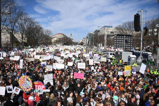 PHOTO: Participants arrive for the March for Our Lives Rally in Washington, DC on March 24, 2018.  (Jim Watson/AFP/Getty Images)