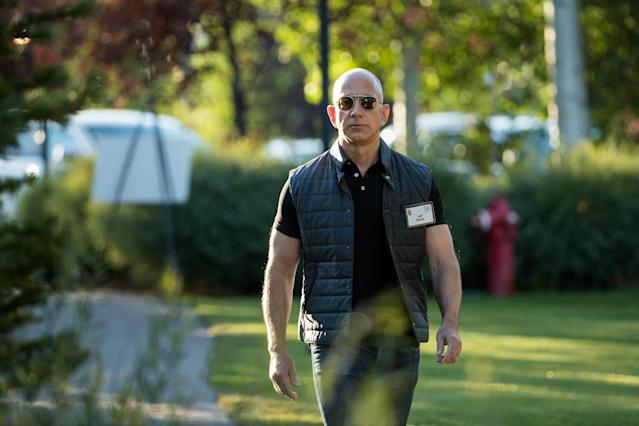 Amazon CEO Jeff Bezos, all business into earnings.