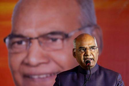 Ram Nath Kovind delivers a speech during a welcoming ceremony as part of his nation-wide tour, in Ahmedabad