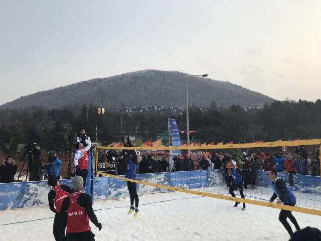 Snow volleyball at PyeongChang. (via Yahoo Sports)