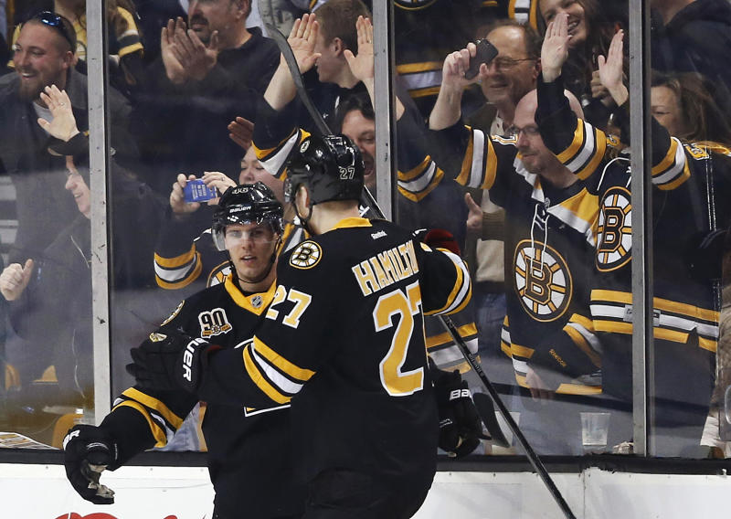 Bruins clinch top spot in East with 5-2 win