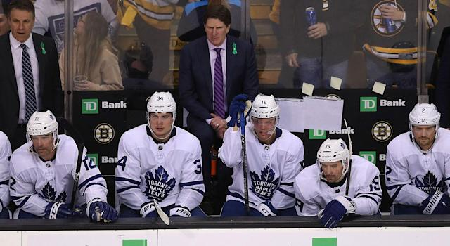 Mike Babcock has some decisions to make ahead of Game 3. (Photo by John Tlumacki/The Boston Globe via Getty Images)