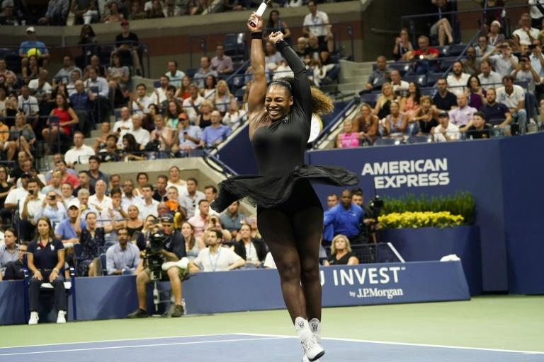 Serena Williams celebrates after beating Karolina Pliskova to reach the semi-finals of the US Open