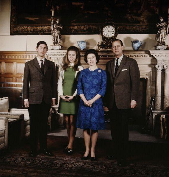 <p>Prince Charles and Princess Anne pose with their parents, Queen Elizabeth and Prince Philip, at their Sandringham Estate in 1970.</p>