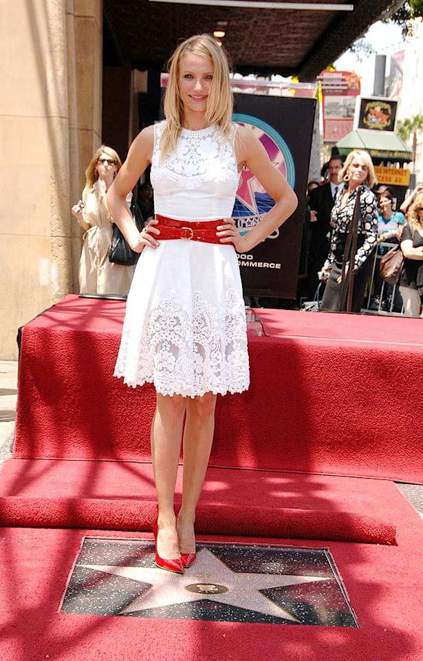 "Cameron Diaz looks as American as apple pie in her sweet white frock and bright red belt and pumps. Steve Granitz/<a href=""http://www.wireimage.com"" target=""new"">WireImage.com</a> - June 22, 2009"