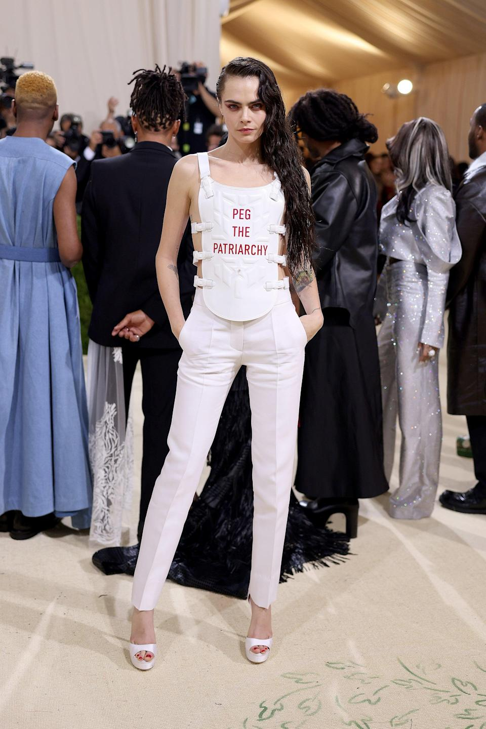 """<h2>Cara Delevingne wearing Dior</h2><br>No more words are necessary with this look. <span class=""""copyright"""">Photo: John Shearer/WireImage.</span>"""