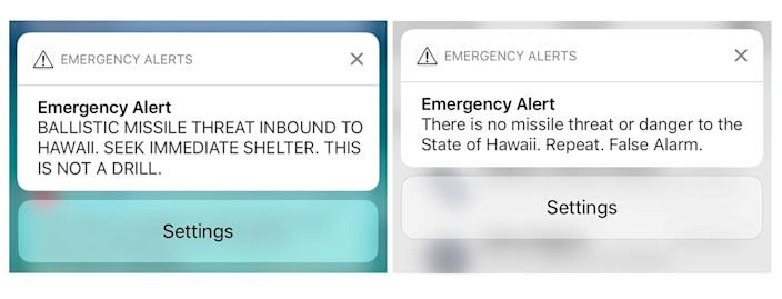 A combination photograph shows screenshots from a cell phone displaying an alert for a ballistic missile launch and the subsequent false alarm message in Hawaii on Jan. 13, 2018. (Photo: Hugh Gentry/Reuters)