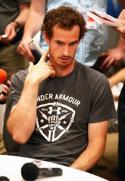 Top seed Andy Murray answers questions from the media during the BNP Paribas Open at Indian Wells Tennis Garden in California, on March 8, 2017