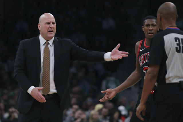 Chicago Bulls head coach Jim Boylen argues a call during the first half of an NBA basketball game against the Boston Celtics in Boston, Monday, Jan. 13, 2020. (AP Photo/Charles Krupa)