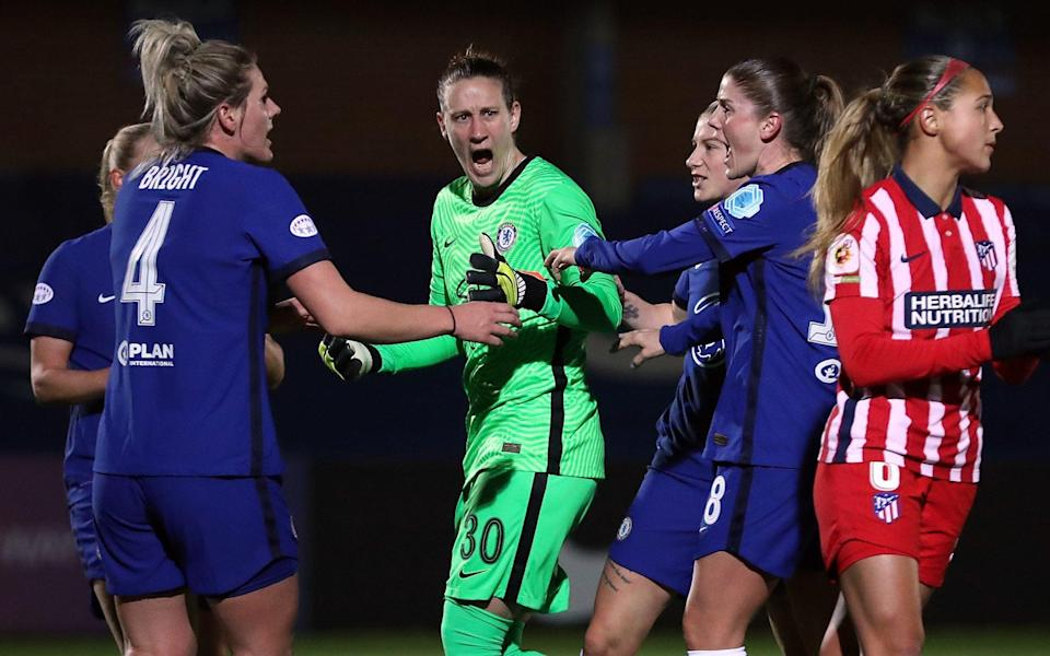 Ann-Katrin Berger - Chelsea Women down to 10 and concede two penalties — but still beat Atletico Madrid in Champions League last 16 - GETTY IMAGES