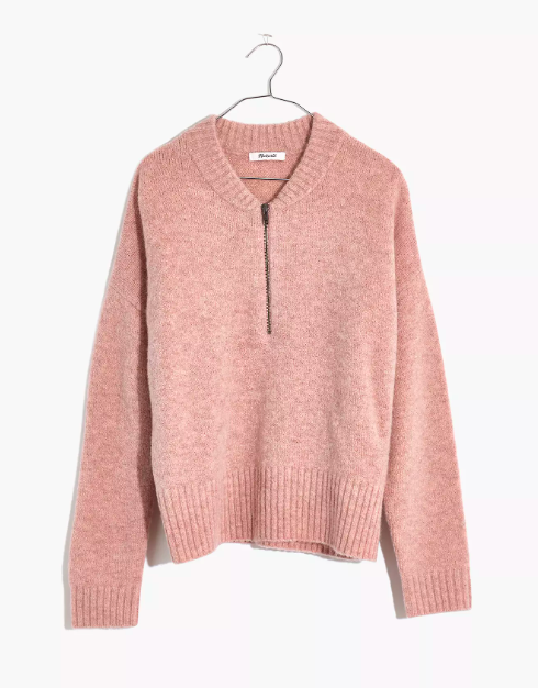 "Madewell's collarless half-zip is destined to become a closet workhorse—and you can always slip <a href=""https://www.glamour.com/story/tissue-turtleneck-shirt?mbid=synd_yahoo_rss"" rel=""nofollow noopener"" target=""_blank"" data-ylk=""slk:a tissue turtleneck"" class=""link rapid-noclick-resp"">a tissue turtleneck</a> underneath if your neck gets cold. $88, Madewell. <a href=""https://www.madewell.com/york-half-zip-pullover-sweater-MA745.html"" rel=""nofollow noopener"" target=""_blank"" data-ylk=""slk:Get it now!"" class=""link rapid-noclick-resp"">Get it now!</a>"