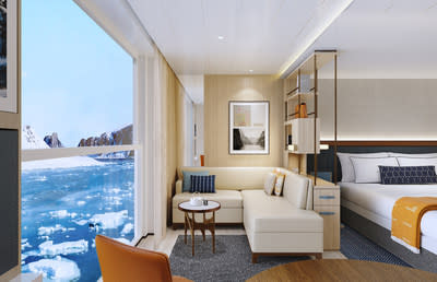 A first for polar expedition cruise vessels, all staterooms on board Viking's new expedition vessels will feature a Nordic Balcony, a sunroom that converts into an al fresco viewing platform. Harnessing the Norwegian reverence for light and to create the optimal wildlife observatory at sea, the Nordic Balcony's floor-to-ceiling, distortion-free glass at the very edge of the ship lets guests take the views in, while keeping the elements out. For more information, visit www.viking.com.