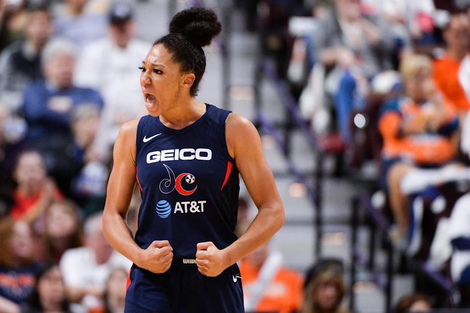 Aerial Powers, with the Washington Mystics, reacts during action against the Connecticut Sun in the WNBA Finals.