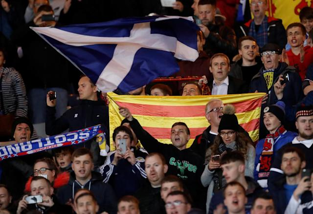 Soccer Football - 2018 World Cup Qualifications - Europe - Scotland vs Slovakia - Hampden Park, Glasgow, Britain - October 5, 2017 Scotland fans during the match REUTERS/Russell Cheyne