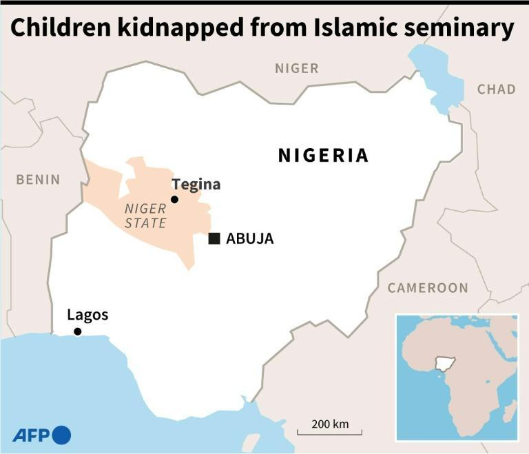 Map of Nigeria locating Tegina, where the freed children were snatched in May from an Islamic seminary (AFP/STAFF)