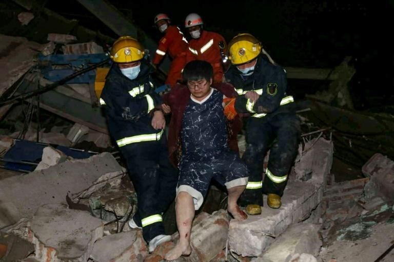 China's Ministry of Emergency Management said some 200 local and 800 Fujian Province firefighters had been deployed (AFP Photo/STR)