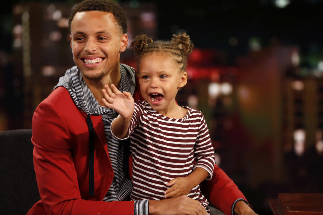 Riley Curry has been exposed to the limelight from the beginning of her life as the daughter of an NBA superstar. (Getty)