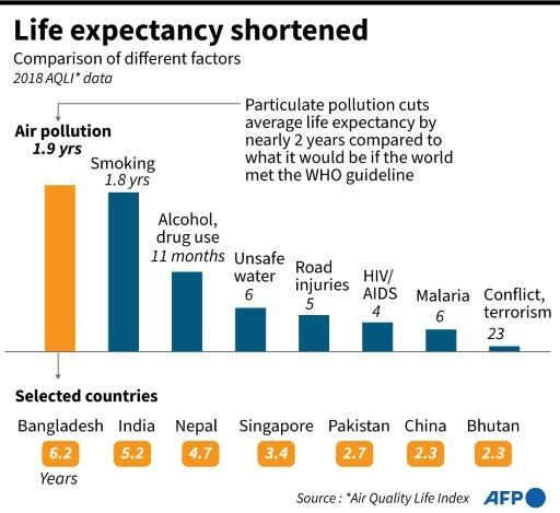 Graphic comparing the estimated erosion of average life expectancy due to different causes such as air pollution, smoking and traffic accidents