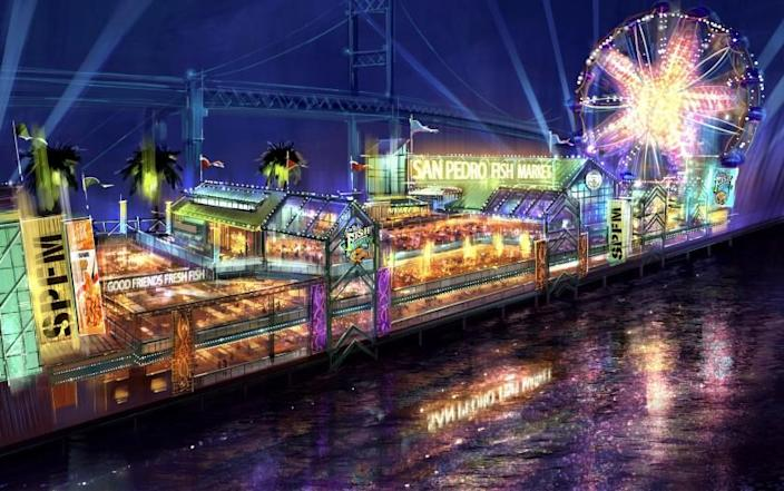 Preliminary rendering of the proposed new the San Pedro Fish Market restaurant on the waterfront in the Port of Los Angeles. The restaurant would have a Ferris wheel-type attraction.