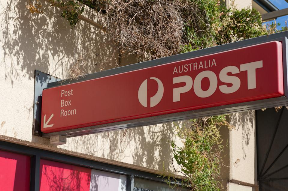 Sydney, Australia - April 21, 2019: Red sign of Australia Post Post Box Room in Sutherland Shire in Sydney