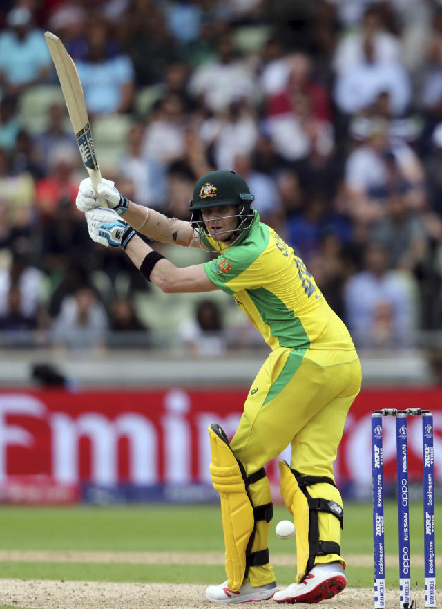 Australia's batsman Steve Smith plays a shot during the Cricket World Cup semi-final match between Australia and England at Edgbaston in Birmingham, England, Thursday, July 11, 2019. (AP Photo/Rui Vieira)