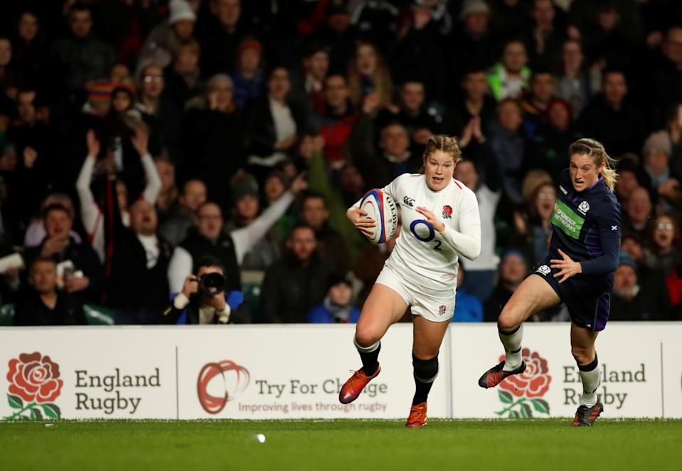 A hat-trick from England star Jess Breach inspired Harlequins to a 45-5 win over Sale Sharks © Action Images