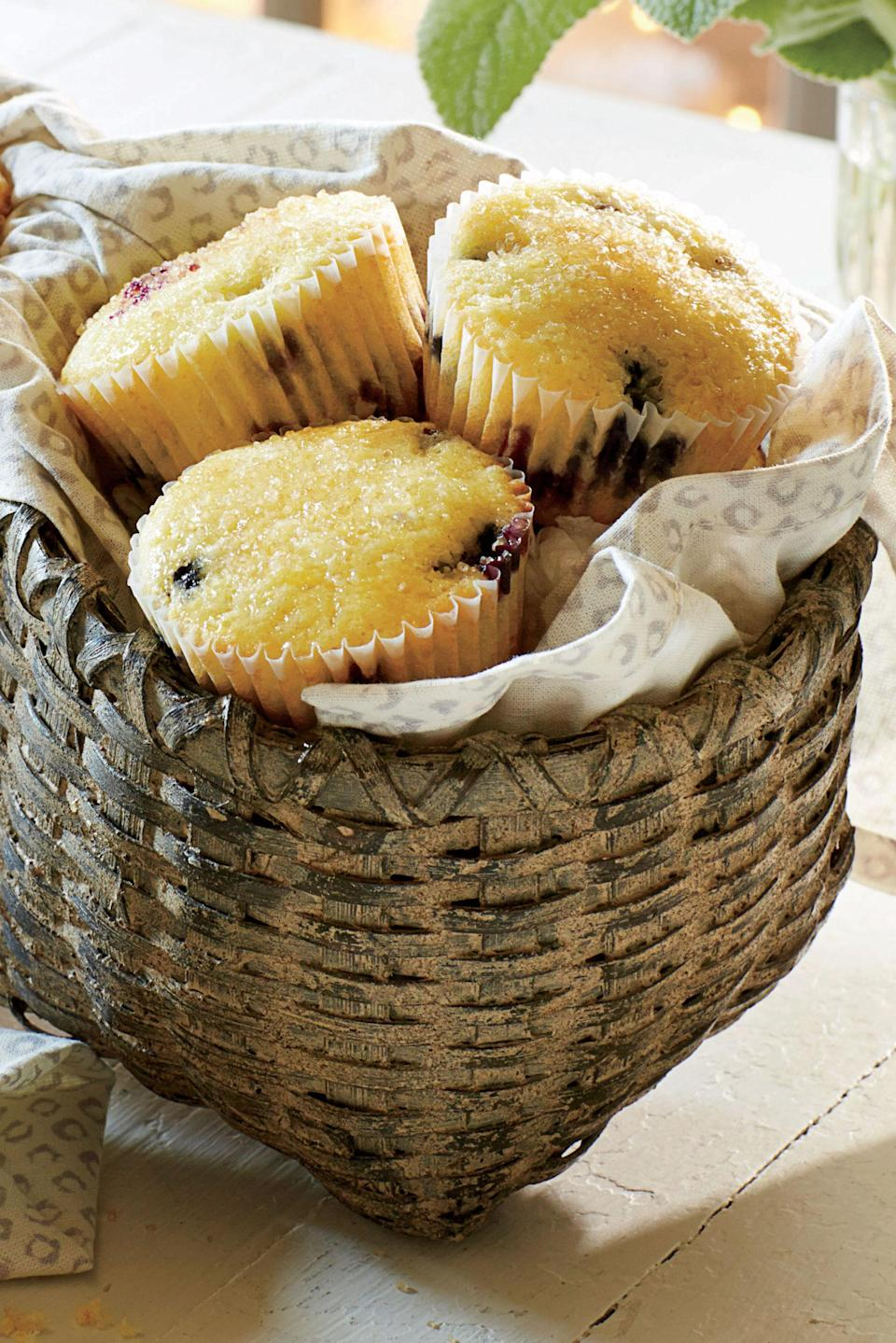 """<p><strong>Recipe: <a href=""""http://www.myrecipes.com/recipe/blueberry-lemon-muffins-1"""" rel=""""nofollow noopener"""" target=""""_blank"""" data-ylk=""""slk:Blueberry-Lemon Muffins"""" class=""""link rapid-noclick-resp"""">Blueberry-Lemon Muffins</a></strong></p> <p>Sprinkle the tops of the glazed muffins with coarse sugar to add texture and a little sparkle. </p>"""