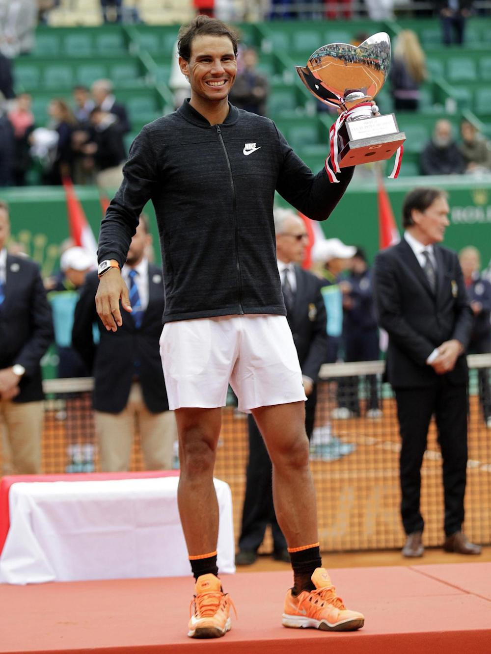 Nadal with his tenth Monte Carlo Masters trophy (Getty)