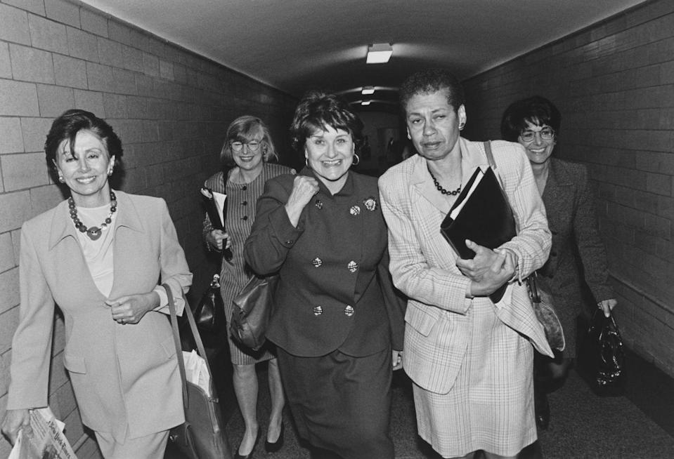 <p>Pelosi is joined by party members and friends Louise Slaughter, Lynn Woolsey, and Anna Eshoo.</p>