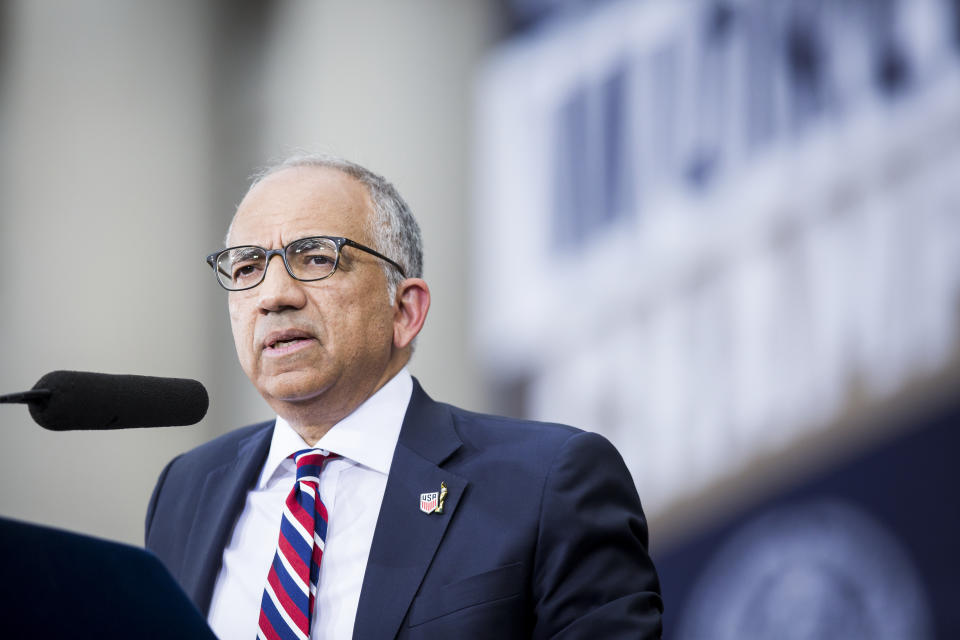 MANHATTAN, NY - JULY 10: Carlos Cordeiro, United States Soccer Federation President gives a speech on the steps of City Hall after the ticker tape parade down Broadway and through the through the Canyon of Heroes,.  This celebration was put on by the City of Manhattan to honor the team winning the 2019 FIFA World Cup Championship title, their fourth, played in France against Netherlands, at the City Hall Ceremony in the Manhattan borough of New York on July 10, 2019, USA.  (Photo by Ira L. Black/Corbis via Getty Images)