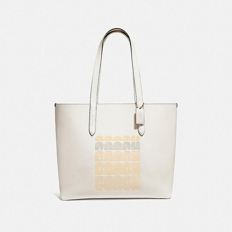 """<p>The cool design on this <a href=""""https://www.popsugar.com/buy/Coach-Highline-Tote-423249?p_name=Coach%20Highline%20Tote&retailer=coach.com&pid=423249&price=195&evar1=fab%3Aus&evar9=45623846&evar98=https%3A%2F%2Fwww.popsugar.com%2Ffashion%2Fphoto-gallery%2F45623846%2Fimage%2F47066430%2FCoach-Highline-Tote&list1=shopping%2Caccessories%2Cbags%2Cworkwear&prop13=mobile&pdata=1"""" rel=""""nofollow"""" data-shoppable-link=""""1"""" target=""""_blank"""" class=""""ga-track"""" data-ga-category=""""Related"""" data-ga-label=""""https://www.coach.com/coach-highline-tote-with-print/69115.html?cgid=women-handbags-new-arrivals&amp;dwvar_color=GD%2FHA"""" data-ga-action=""""In-Line Links"""">Coach Highline Tote</a> ($195) makes it feel different.</p>"""